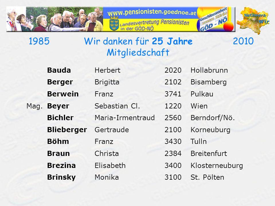 19852010Wir danken für 25 Jahre Mitgliedschaft BrunnhuberKarl Leo3150Wilhelmsburg/Traisen Mag.BrustbauerKarl3601Dürnstein Mag.BuhlKarl3522Loiwein BuxbaumWilhelm3924Niederneustift DanekHildegard2362Biedermannsdorf DenkPeter2491Neufeld/Leitha Dr.DorfmeisterMaria2500Baden Dr.DornHans Jürgen2460Bruck/Leitha Dipl.Päd.DotterErnestine3385Prinzersdorf DraexlerErich3580Horn