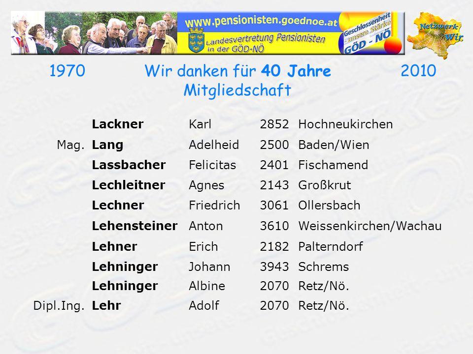 19702010Wir danken für 40 Jahre Mitgliedschaft LacknerKarl2852Hochneukirchen Mag.LangAdelheid2500Baden/Wien LassbacherFelicitas2401Fischamend LechleitnerAgnes2143Großkrut LechnerFriedrich3061Ollersbach LehensteinerAnton3610Weissenkirchen/Wachau LehnerErich2182Palterndorf LehningerJohann3943Schrems LehningerAlbine2070Retz/Nö.