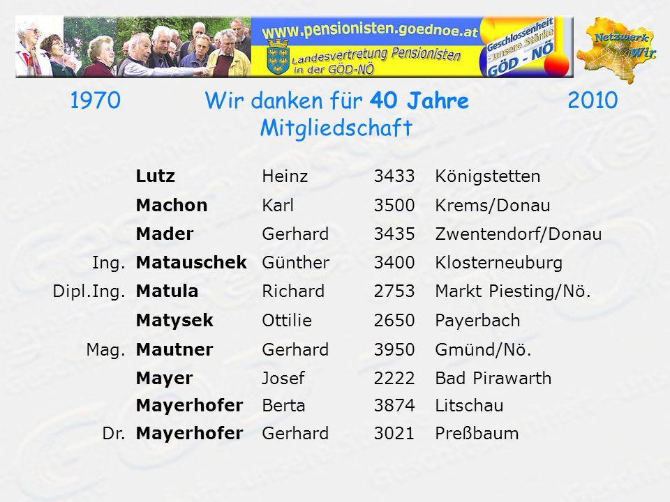 19702010Wir danken für 40 Jahre Mitgliedschaft LutzHeinz3433Königstetten MachonKarl3500Krems/Donau MaderGerhard3435Zwentendorf/Donau Ing.MatauschekGünther3400Klosterneuburg Dipl.Ing.MatulaRichard2753Markt Piesting/Nö.