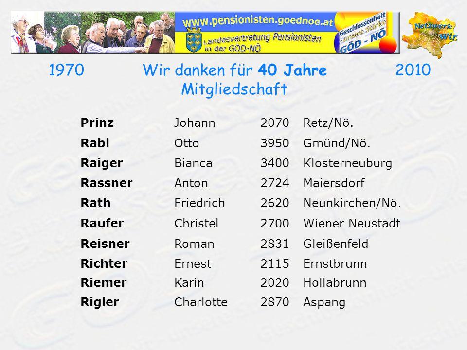 19702010Wir danken für 40 Jahre Mitgliedschaft PrinzJohann2070Retz/Nö. RablOtto3950Gmünd/Nö. RaigerBianca3400Klosterneuburg RassnerAnton2724Maiersdorf