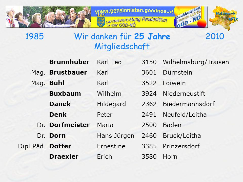 19702010Wir danken für 40 Jahre Mitgliedschaft NaderChrista2000Stockerau Dipl.Päd.NaglBernhard3261Steinakirchen/Forst Dr.NeuhauserHans-Werner2340Mödling NoitzmüllerWalter3721Limberg NürnbergerJohann2301Wittau ObermayerAngelika3100St.