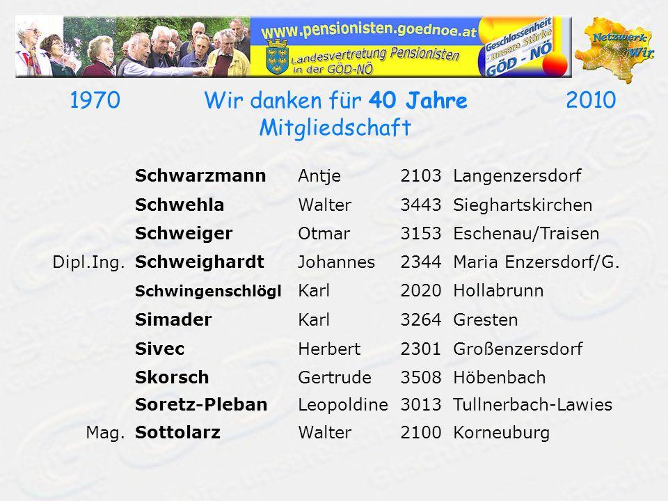 19702010Wir danken für 40 Jahre Mitgliedschaft SchwarzmannAntje2103Langenzersdorf SchwehlaWalter3443Sieghartskirchen SchweigerOtmar3153Eschenau/Traisen Dipl.Ing.SchweighardtJohannes2344Maria Enzersdorf/G.