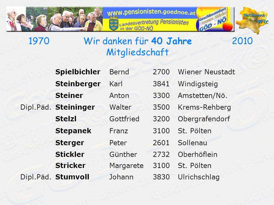 19702010Wir danken für 40 Jahre Mitgliedschaft SpielbichlerBernd2700Wiener Neustadt SteinbergerKarl3841Windigsteig SteinerAnton3300Amstetten/Nö. Dipl.