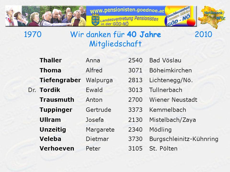 19702010Wir danken für 40 Jahre Mitgliedschaft ThallerAnna2540Bad Vöslau ThomaAlfred3071Böheimkirchen TiefengraberWalpurga2813Lichtenegg/Nö. Dr.Tordik