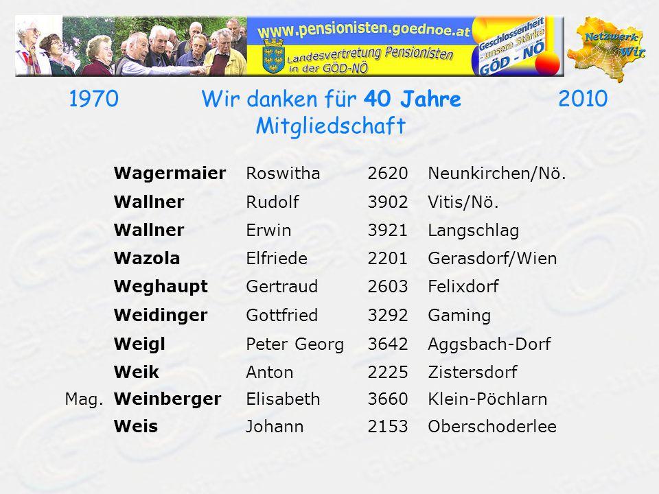 19702010Wir danken für 40 Jahre Mitgliedschaft WagermaierRoswitha2620Neunkirchen/Nö. WallnerRudolf3902Vitis/Nö. WallnerErwin3921Langschlag WazolaElfri