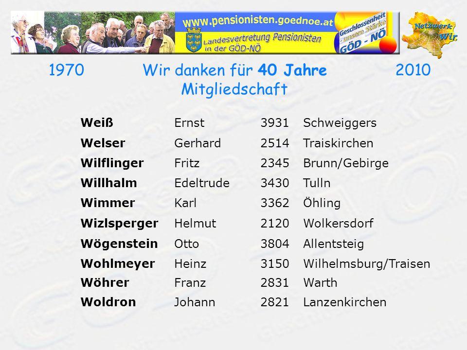 19702010Wir danken für 40 Jahre Mitgliedschaft WeißErnst3931Schweiggers WelserGerhard2514Traiskirchen WilflingerFritz2345Brunn/Gebirge WillhalmEdeltru