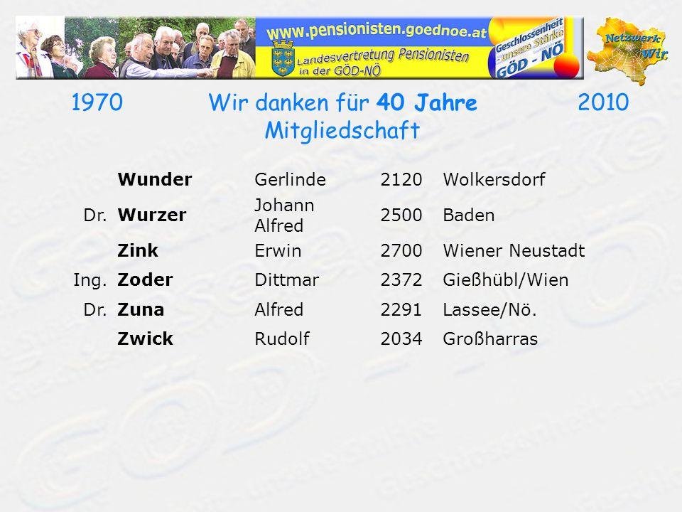 19702010Wir danken für 40 Jahre Mitgliedschaft WunderGerlinde2120Wolkersdorf Dr.Wurzer Johann Alfred 2500Baden ZinkErwin2700Wiener Neustadt Ing.ZoderD