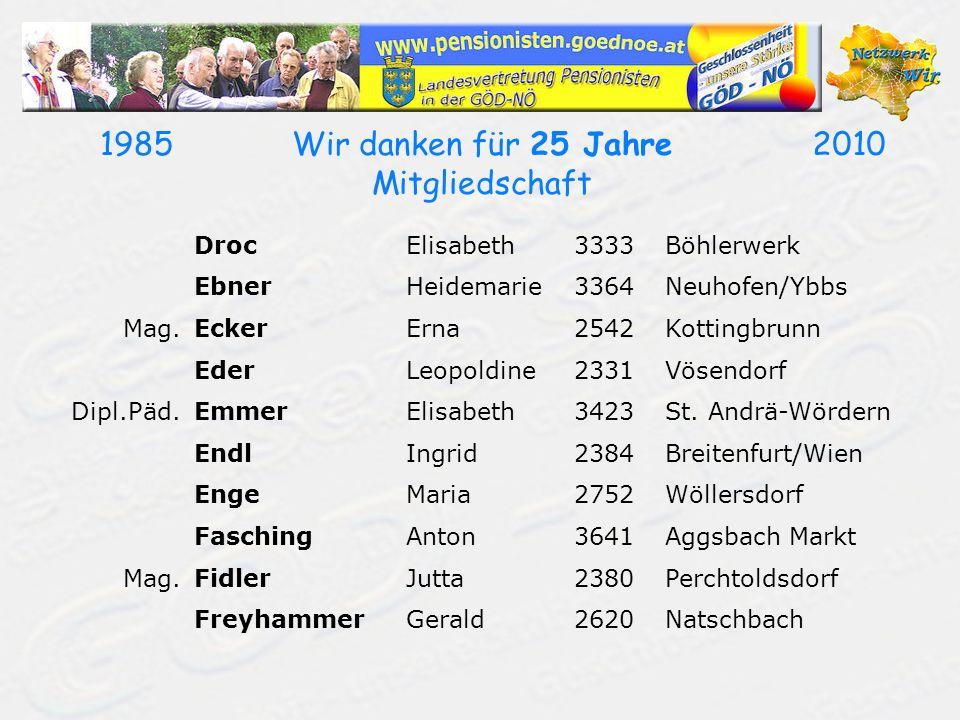 19852010Wir danken für 25 Jahre Mitgliedschaft FriedrichHelmut2384Breitenfurt FrischeisJohann3441Gollarn FussGünther3462Absdorf GanstererManfred2630Ternitz GehringerAlois3451Atzelsdorf GlattAndreas2120Wolkersdorf GrafAlois3512Mautern Mag.GröbnerSigrid2723Muthmannsdorf GundackerKarl3644Emmersdorf/Donau HaasRudolfine2410Hainburg/Donau