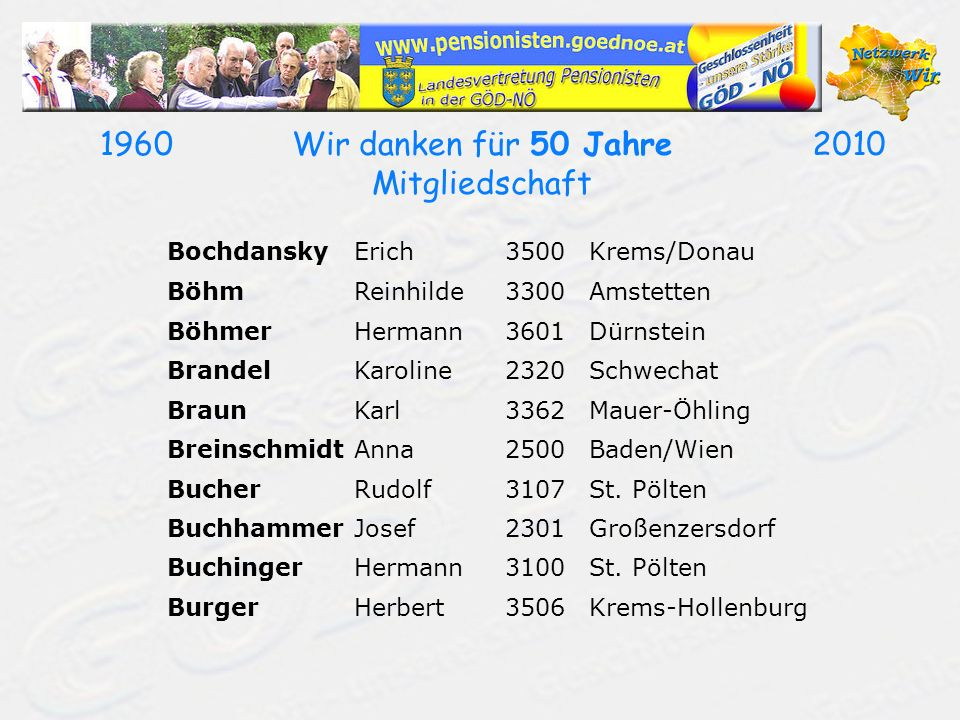 19602010Wir danken für 50 Jahre Mitgliedschaft BochdanskyErich3500Krems/Donau BöhmReinhilde3300Amstetten BöhmerHermann3601Dürnstein BrandelKaroline2320Schwechat BraunKarl3362Mauer-Öhling BreinschmidtAnna2500Baden/Wien BucherRudolf3107St.