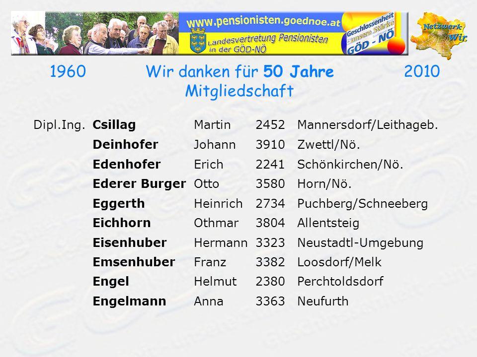 19602010Wir danken für 50 Jahre Mitgliedschaft Dipl.Ing.CsillagMartin2452Mannersdorf/Leithageb. DeinhoferJohann3910Zwettl/Nö. EdenhoferErich2241Schönk