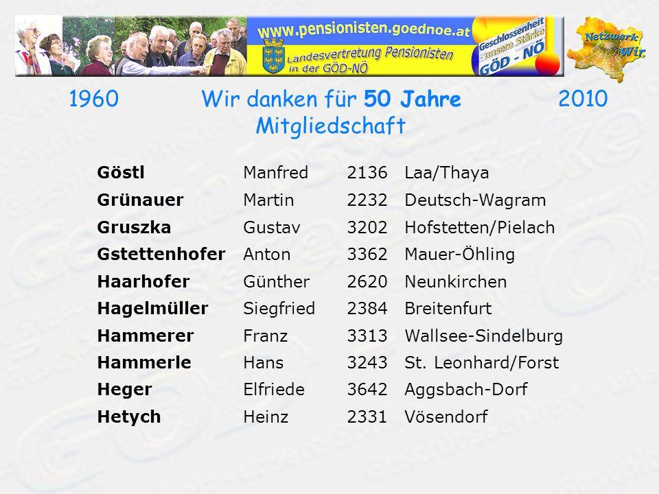 19602010Wir danken für 50 Jahre Mitgliedschaft GöstlManfred2136Laa/Thaya GrünauerMartin2232Deutsch-Wagram GruszkaGustav3202Hofstetten/Pielach Gstetten