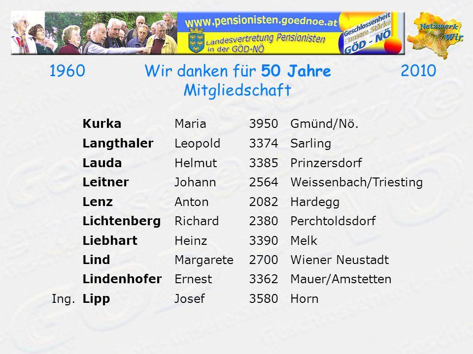 19602010Wir danken für 50 Jahre Mitgliedschaft KurkaMaria3950Gmünd/Nö. LangthalerLeopold3374Sarling LaudaHelmut3385Prinzersdorf LeitnerJohann2564Weiss