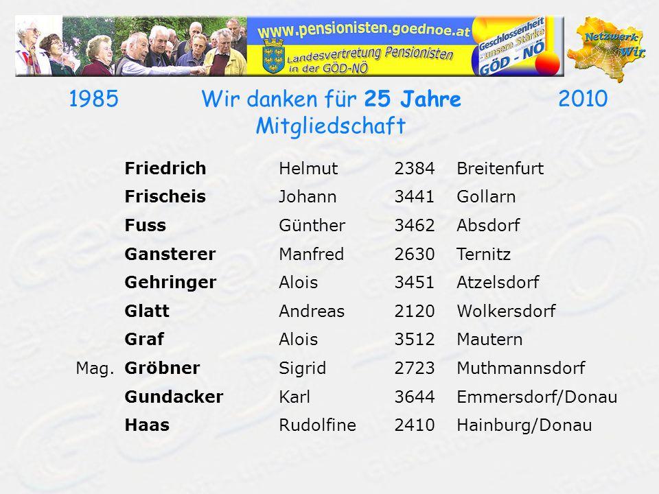 19502010Wir danken für 60 Jahre Mitgliedschaft AiblerMaria2700Wiener Neustadt AringerJosef2345Brunn/Gebirge ArnbergerIrene3874Litschau BayerErnst2460Bruck/Leitha BendaFranz3380Pöchlarn BreyerErich3203Rabenstein/Pielach CudaMaria3400Klosterneuburg DeibelErna2120Wolkersdorf FanatscherLeopold3100St.