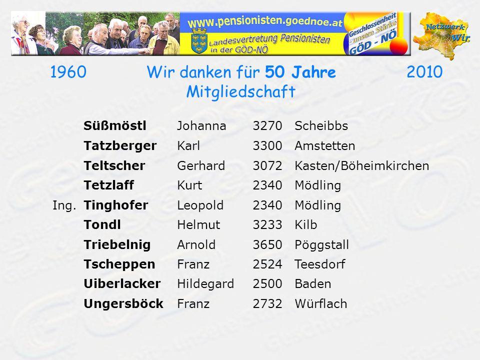 19602010Wir danken für 50 Jahre Mitgliedschaft SüßmöstlJohanna3270Scheibbs TatzbergerKarl3300Amstetten TeltscherGerhard3072Kasten/Böheimkirchen Tetzla