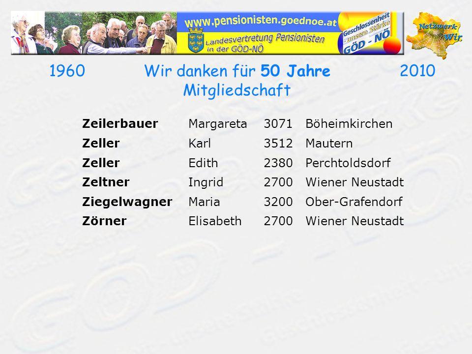 19602010Wir danken für 50 Jahre Mitgliedschaft ZeilerbauerMargareta3071Böheimkirchen ZellerKarl3512Mautern ZellerEdith2380Perchtoldsdorf ZeltnerIngrid2700Wiener Neustadt ZiegelwagnerMaria3200Ober-Grafendorf ZörnerElisabeth2700Wiener Neustadt