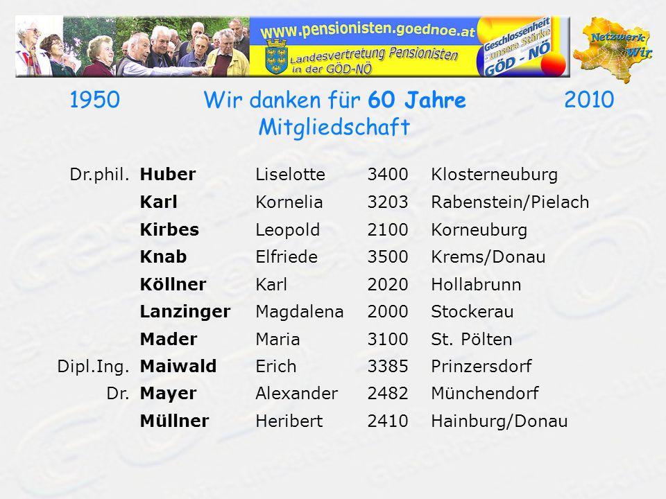 19502010Wir danken für 60 Jahre Mitgliedschaft Dr.phil.HuberLiselotte3400Klosterneuburg KarlKornelia3203Rabenstein/Pielach KirbesLeopold2100Korneuburg