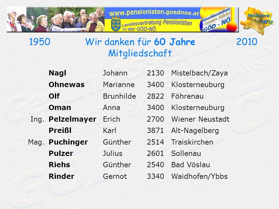 19502010Wir danken für 60 Jahre Mitgliedschaft NaglJohann2130Mistelbach/Zaya OhnewasMarianne3400Klosterneuburg OlfBrunhilde2822Föhrenau OmanAnna3400Klosterneuburg Ing.PelzelmayerErich2700Wiener Neustadt PreißlKarl3871Alt-Nagelberg Mag.PuchingerGünther2514Traiskirchen PulzerJulius2601Sollenau RiehsGünther2540Bad Vöslau RinderGernot3340Waidhofen/Ybbs