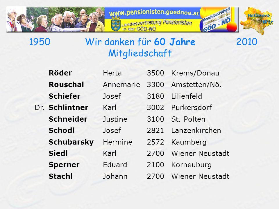 19502010Wir danken für 60 Jahre Mitgliedschaft RöderHerta3500Krems/Donau RouschalAnnemarie3300Amstetten/Nö. SchieferJosef3180Lilienfeld Dr.SchlintnerK
