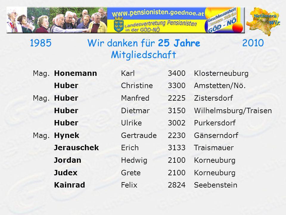 19702010Wir danken für 40 Jahre Mitgliedschaft Dipl.Päd.KonvickaAnneliese3400Weidling KoppGerhard3300Amstetten Dipl.Ing.KorgerDietfried1130Wien Dipl.Päd.KornellRupert3580Horn/Nö.