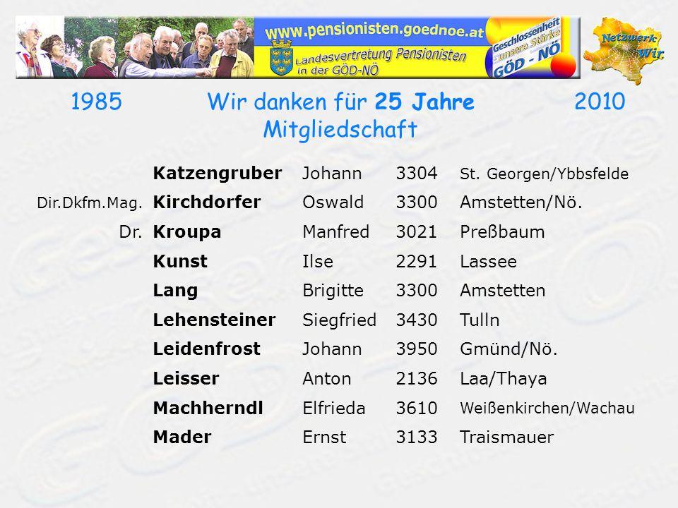 19702010Wir danken für 40 Jahre Mitgliedschaft KrappelJosef2183Neusiedl/Zaya Dr.KreinerWalter3011Untertullnerbach Dr.KrizanicHerbert3180Lilienfeld KrizekEvelin2201Gerasdorf/Wien KronesWerner2751Steinabrückl KrückelKarl3100St.Pölten KrugIngeborg2733Grünbach/Schneeberg Dr.KühschelmLeonhard2122Ulrichskirchen KummersbergerAlfred2340Mödling KuttelwascherUlrike2630Ternitz