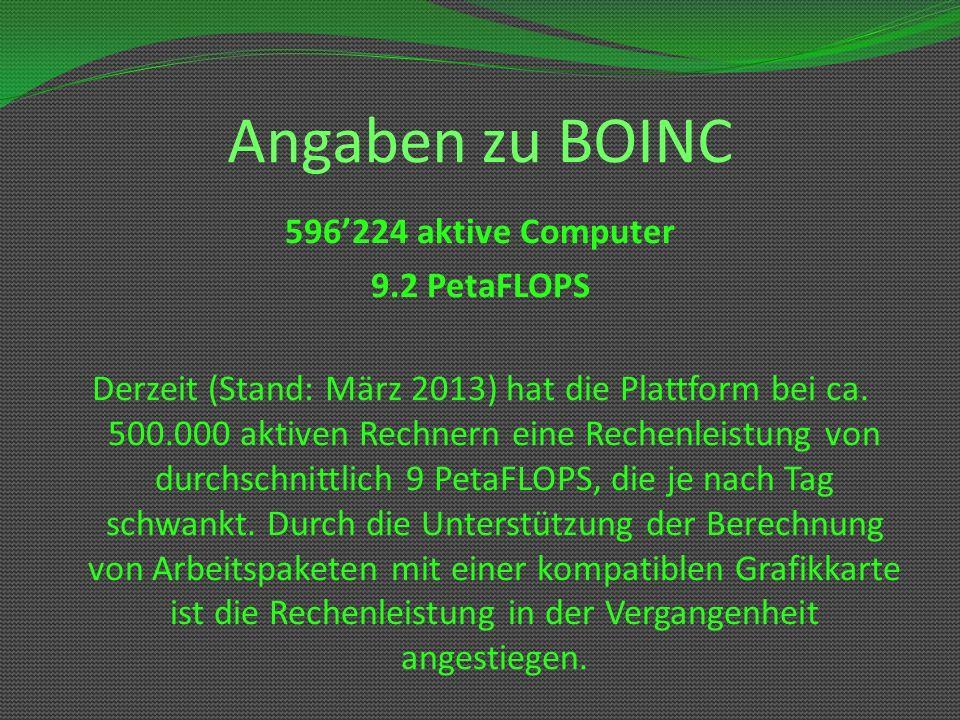 Angaben zu BOINC 596224 aktive Computer 9.2 PetaFLOPS Derzeit (Stand: März 2013) hat die Plattform bei ca. 500.000 aktiven Rechnern eine Rechenleistun