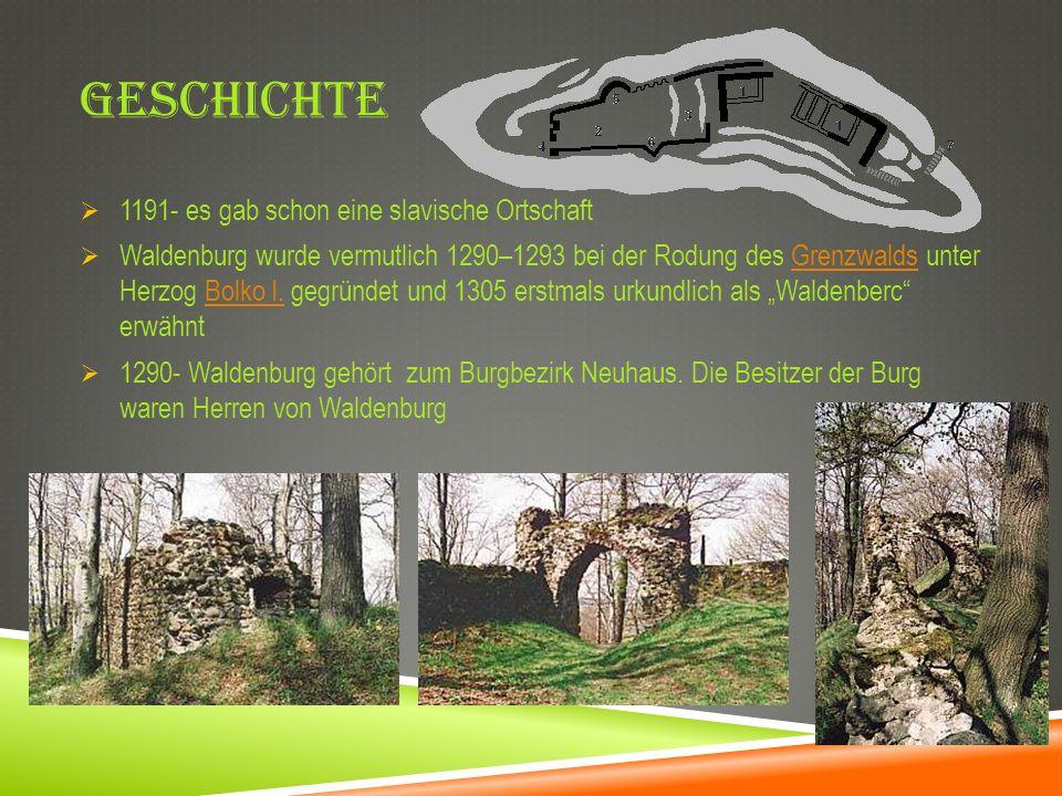 GESCHICHTE 1191- es gab schon eine slavische Ortschaft Waldenburg wurde vermutlich 1290–1293 bei der Rodung des Grenzwalds unter Herzog Bolko I. gegrü