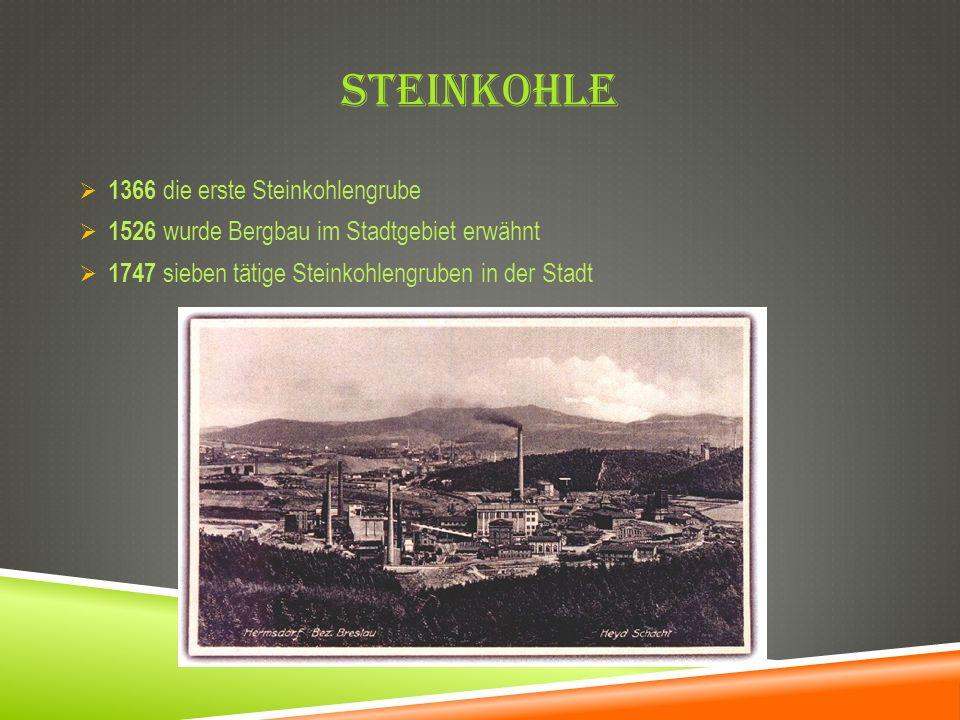 STEINKOHLE 1366 die erste Steinkohlengrube 1526 wurde Bergbau im Stadtgebiet erwähnt 1747 sieben tätige Steinkohlengruben in der Stadt