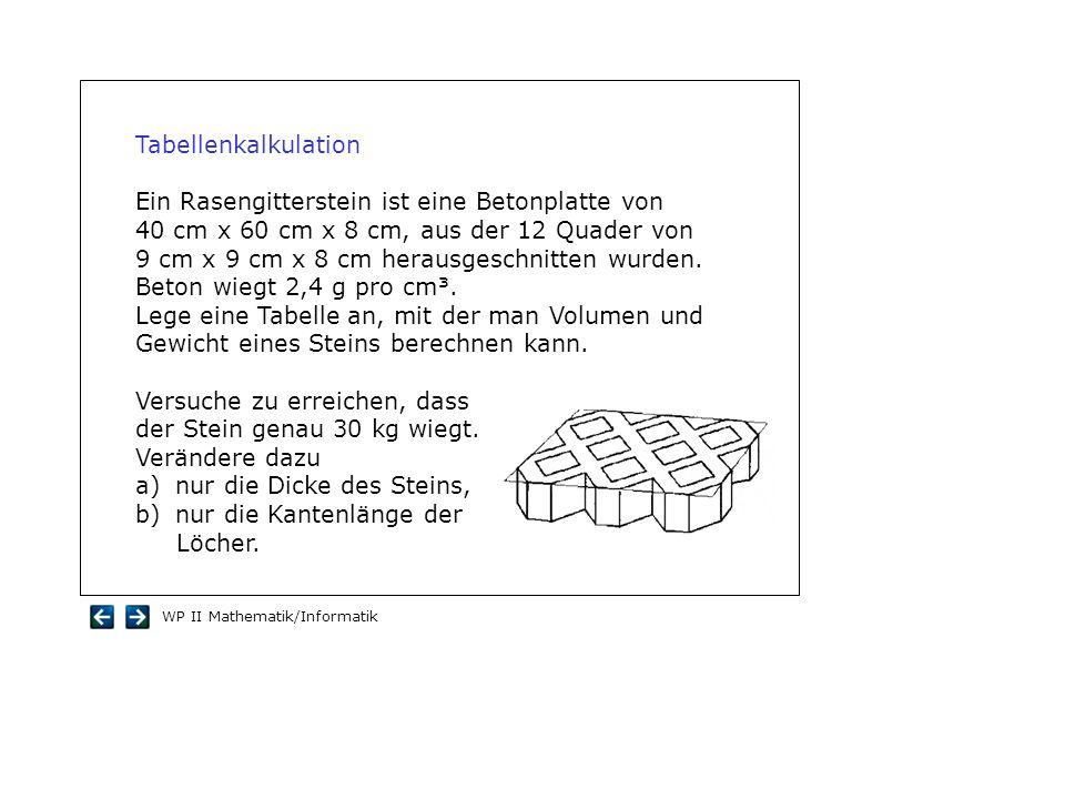 WP II Mathematik/Informatik Tabellenkalkulation Ein Rasengitterstein ist eine Betonplatte von 40 cm x 60 cm x 8 cm, aus der 12 Quader von 9 cm x 9 cm