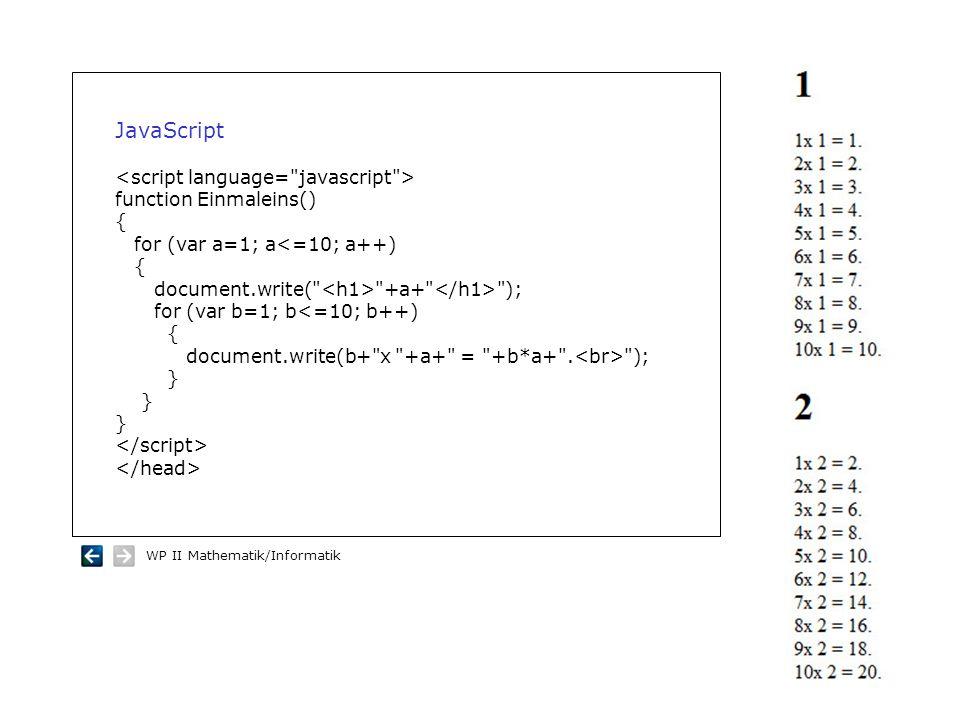 WP II Mathematik/Informatik JavaScript function Einmaleins() { for (var a=1; a<=10; a++) { document.write(