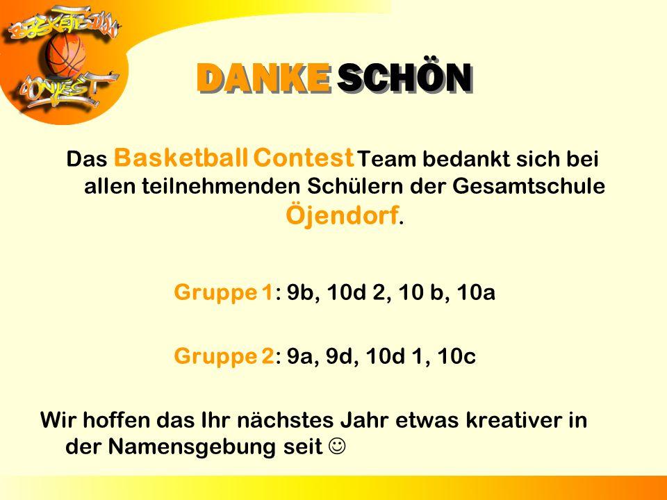 DANKE SCHÖN Das Basketball Contest Team bedankt sich bei allen teilnehmenden Schülern der Gesamtschule Öjendorf. Gruppe 1: 9b, 10d 2, 10 b, 10a Gruppe