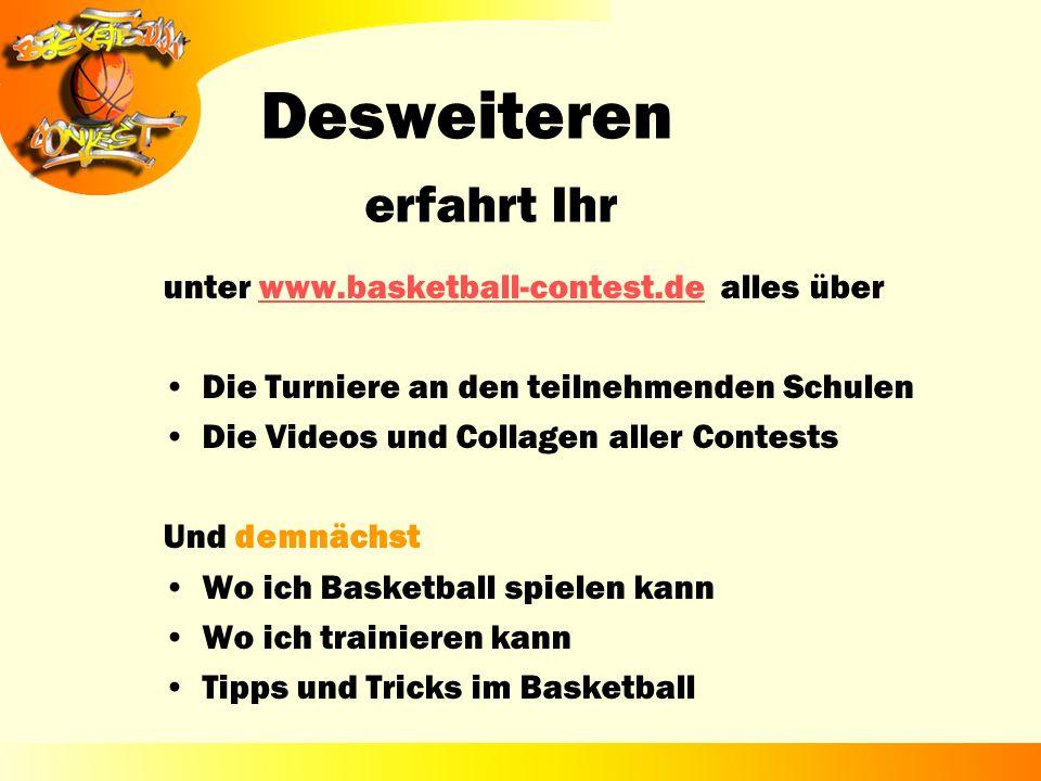 unter www.basketball-contest.de alles überwww.basketball-contest.de Die Turniere an den teilnehmenden Schulen Die Videos und Collagen aller Contests U