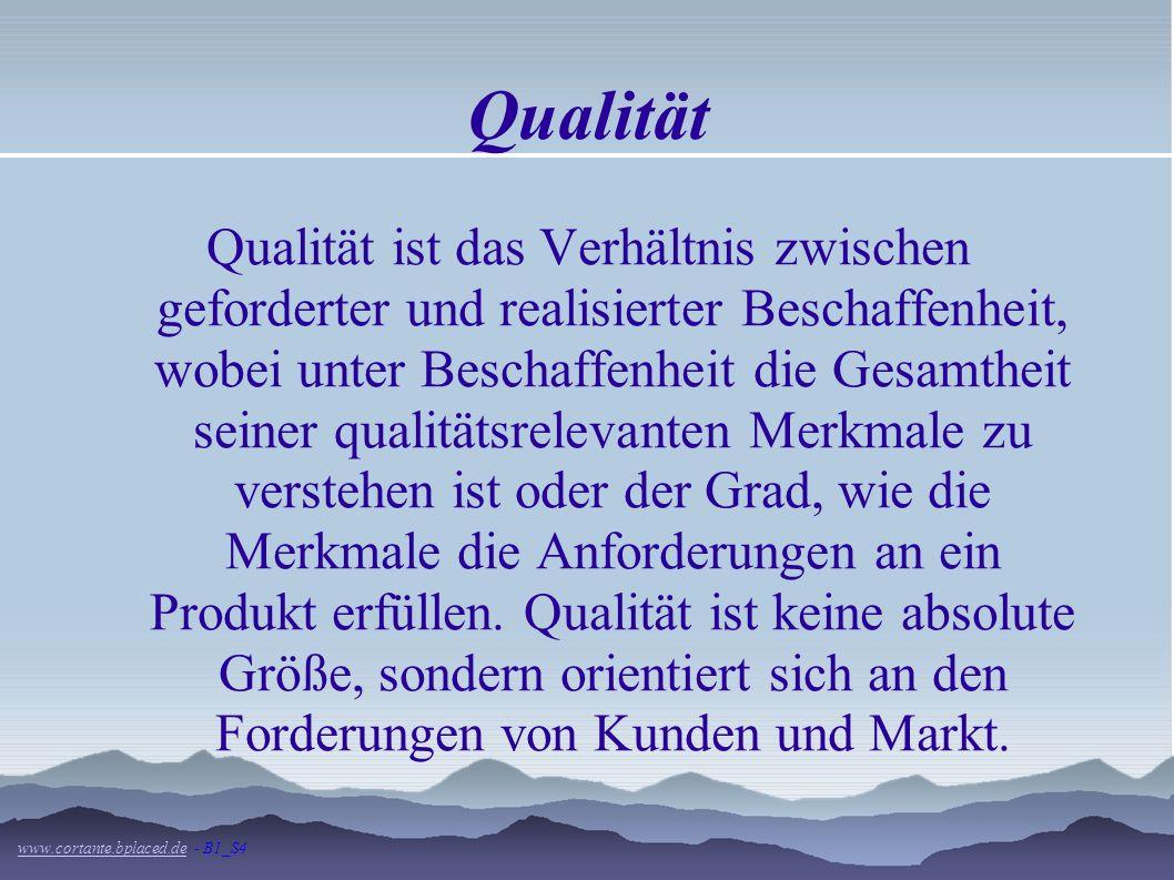 Qualität Qualität ist das Verhältnis zwischen geforderter und realisierter Beschaffenheit, wobei unter Beschaffenheit die Gesamtheit seiner qualitätsrelevanten Merkmale zu verstehen ist oder der Grad, wie die Merkmale die Anforderungen an ein Produkt erfüllen.