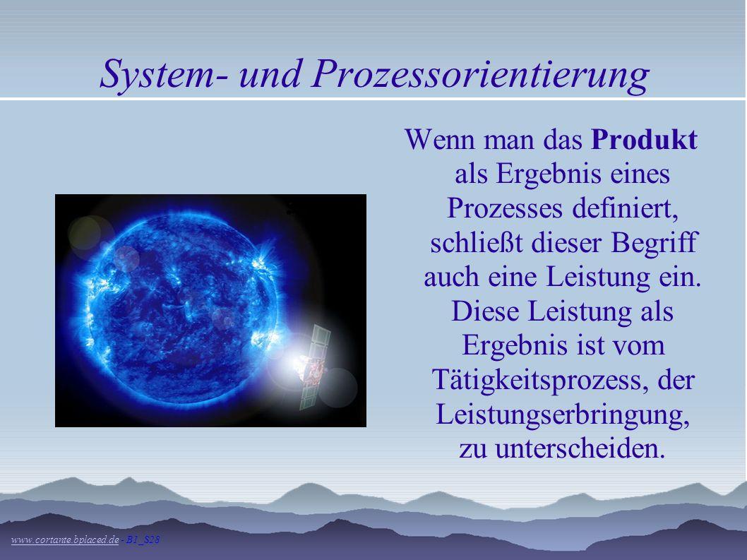 System- und Prozessorientierung Jeder Vorgang im Unternehmen ist gekennzeichnet, dass Eingaben (Inputs) in Ergebnisse (Outputs) umgewandelt werden. Di