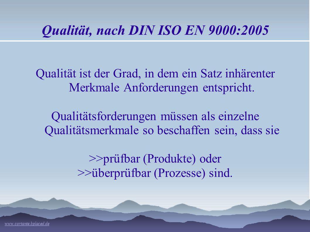 Qualität, nach DIN ISO EN 9000:2005 Qualität ist der Grad, in dem ein Satz inhärenter Merkmale Anforderungen entspricht.