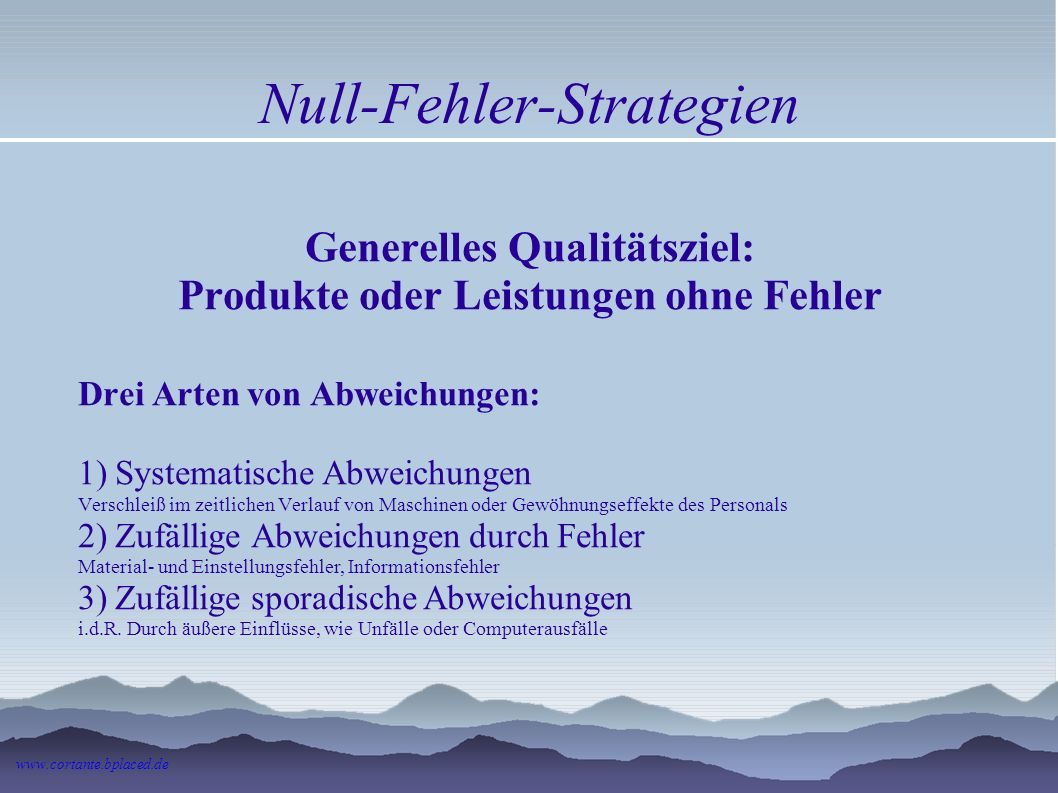 Null-Fehler-Strategien Mangel: Beeinträchtigung der Gebrauchstauglichkeit. Ein Fehler, der den gewöhnlichen und vorausgesetzten Gebrauch aufhebt oder