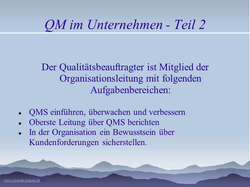 QM im Unternehmen - Teil 1 www.cortante.bplaced.dewww.cortante.bplaced.de S45 Nach ISO 9001: für alle Mitarbeiter mit leitenden und überwachenden Täti