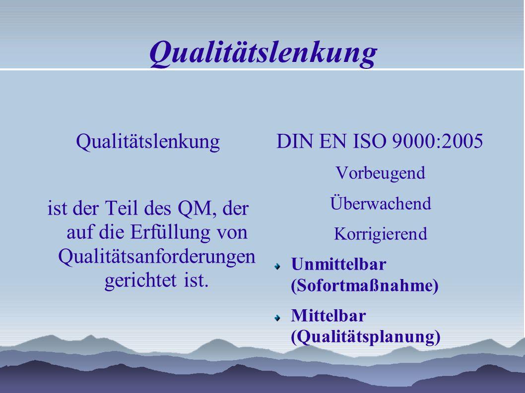 Qualitätslenkung ist der Teil des QM, der auf die Erfüllung von Qualitätsanforderungen gerichtet ist.