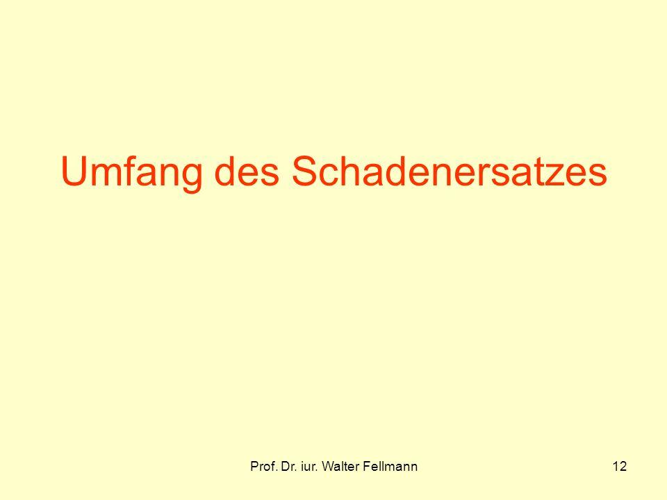 Prof. Dr. iur. Walter Fellmann12 Umfang des Schadenersatzes