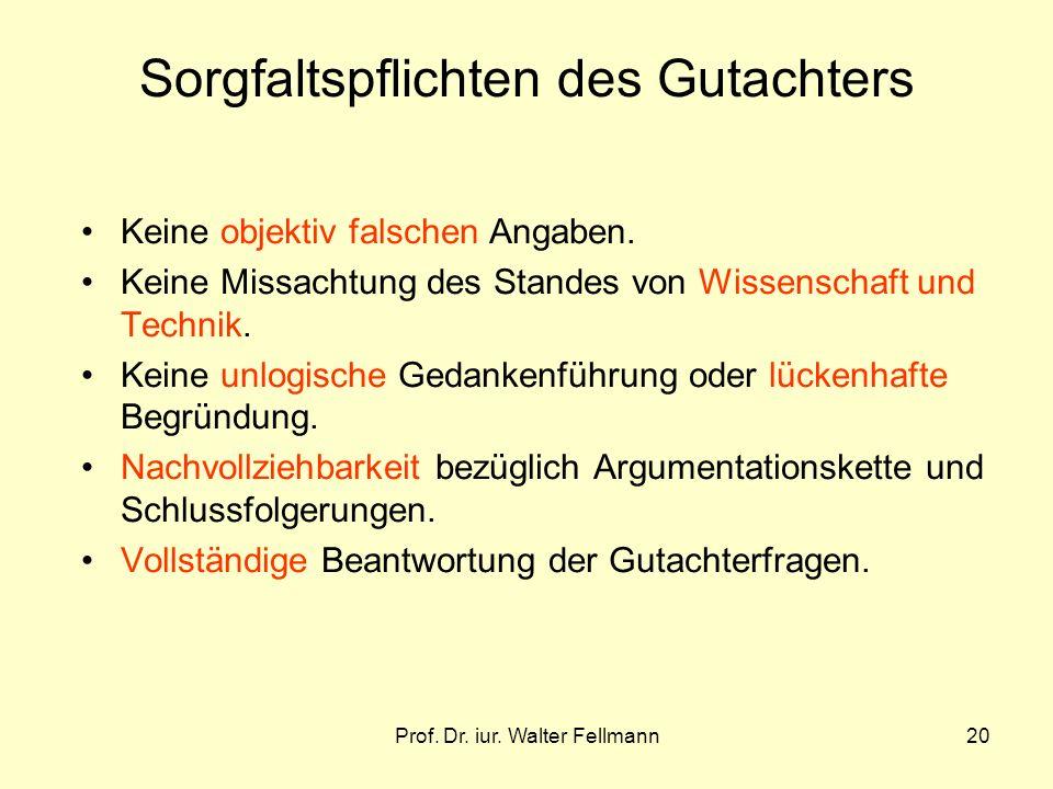 Prof.Dr. iur. Walter Fellmann20 Sorgfaltspflichten des Gutachters Keine objektiv falschen Angaben.