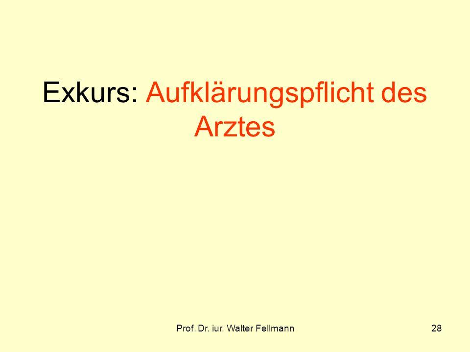 Prof. Dr. iur. Walter Fellmann28 Exkurs: Aufklärungspflicht des Arztes