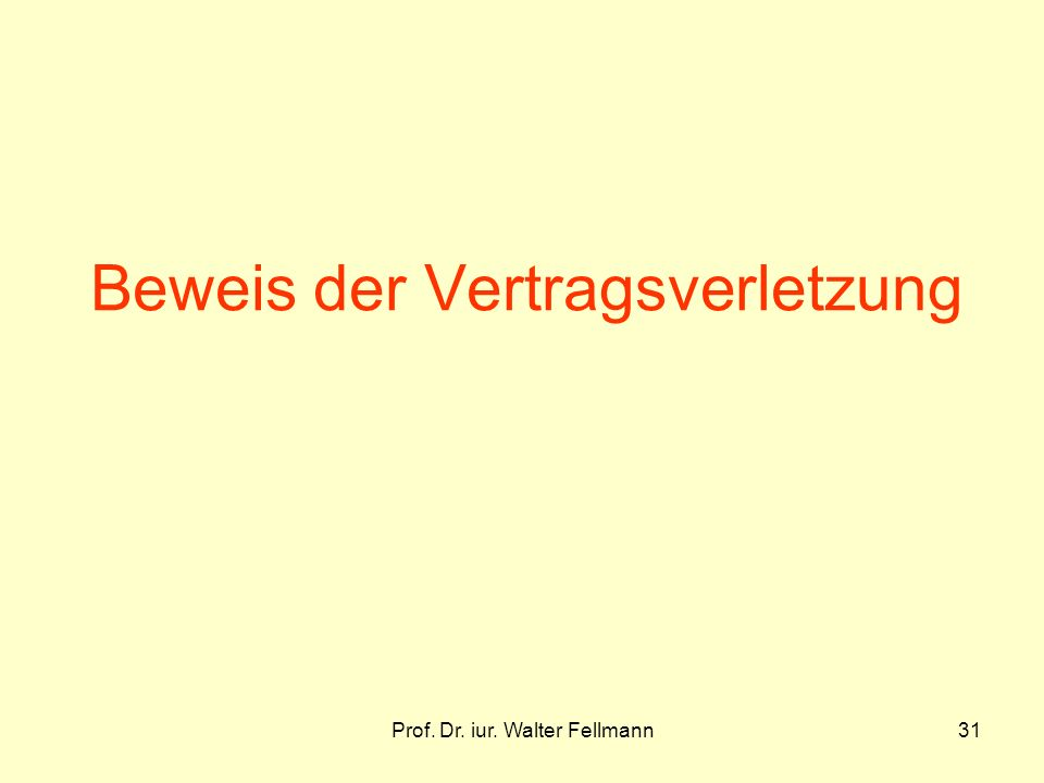 Prof. Dr. iur. Walter Fellmann31 Beweis der Vertragsverletzung