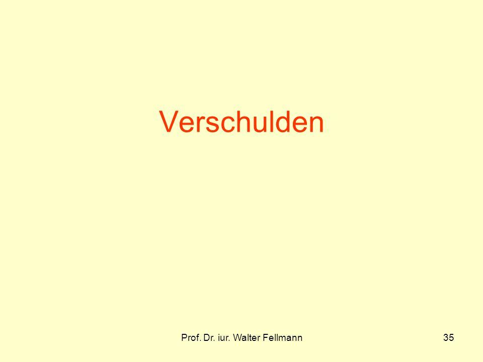 Prof. Dr. iur. Walter Fellmann35 Verschulden