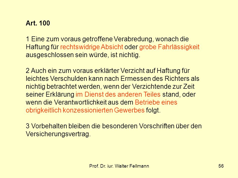 Prof.Dr. iur. Walter Fellmann56 Art.