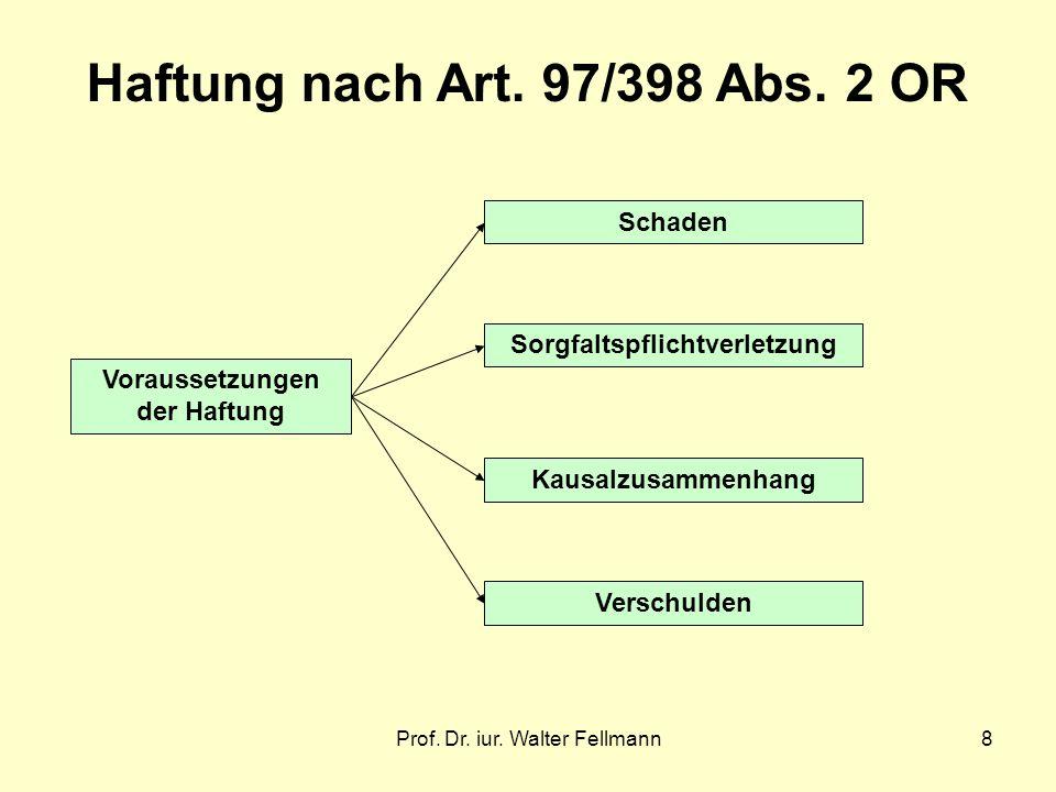 Prof.Dr. iur. Walter Fellmann8 Voraussetzungen der Haftung Haftung nach Art.
