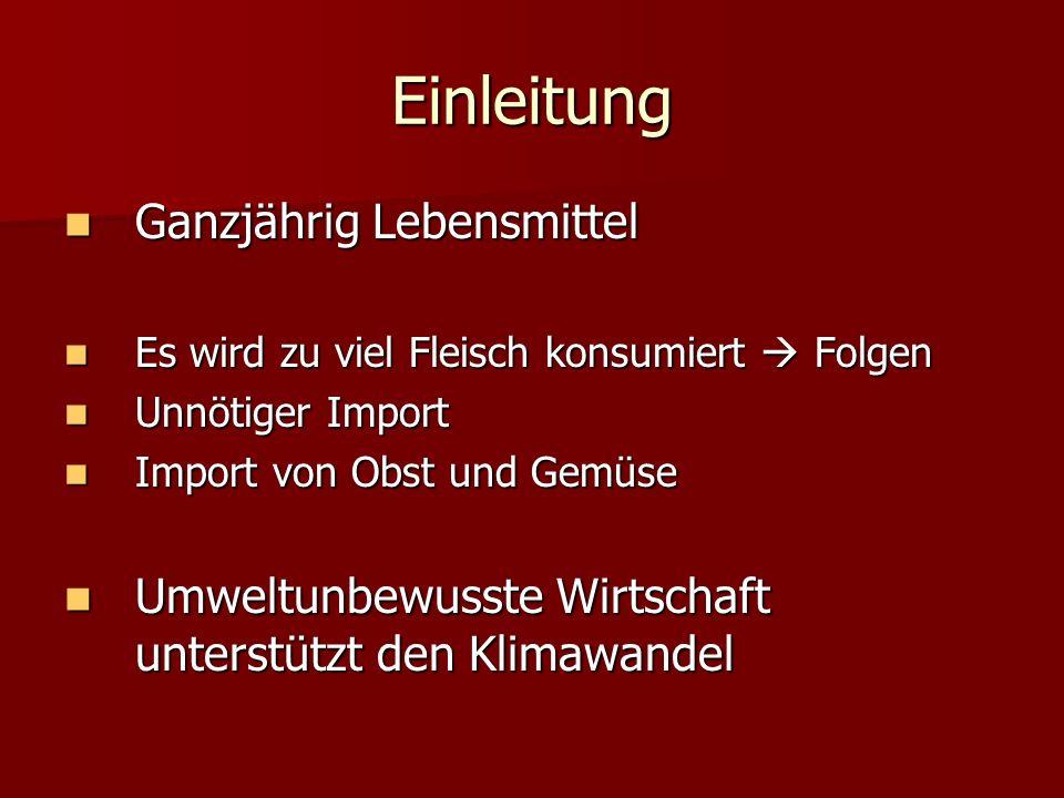 Wie unsere Welt am Import leidet Import grosser CO2 Ausstoß (je weiter desto mehr CO2) Import grosser CO2 Ausstoß (je weiter desto mehr CO2) 1kg verschifftes Gemüse = genau so viel CO2 wie 11kg importiertes Gemüse in Deutschland 1kg verschifftes Gemüse = genau so viel CO2 wie 11kg importiertes Gemüse in Deutschland Beim Flugzeug sogar 90kg (in D.) Beim Flugzeug sogar 90kg (in D.) Im Durchschnitt 2-3 mal höhere Belastung bei Import aus dem Ausland Im Durchschnitt 2-3 mal höhere Belastung bei Import aus dem Ausland Notwendiger Import (Bananen, Kaffee..) allein nur 22% des Ausstoßes sparen Notwendiger Import (Bananen, Kaffee..) allein nur 22% des Ausstoßes sparen