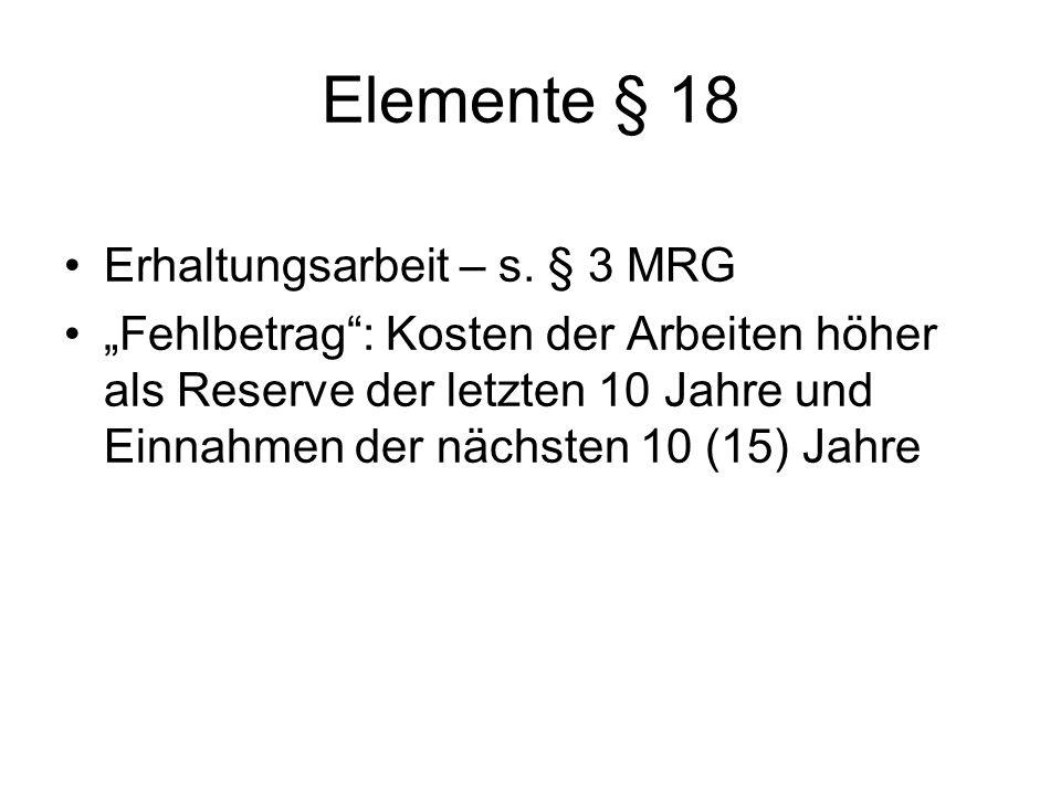 Elemente § 18 Erhaltungsarbeit – s. § 3 MRG Fehlbetrag: Kosten der Arbeiten höher als Reserve der letzten 10 Jahre und Einnahmen der nächsten 10 (15)