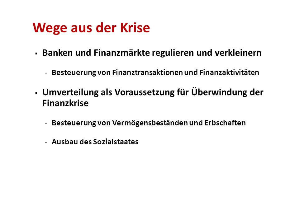 Wege aus der Krise Banken und Finanzmärkte regulieren und verkleinern Besteuerung von Finanztransaktionen und Finanzaktivitäten Umverteilung als Vorau
