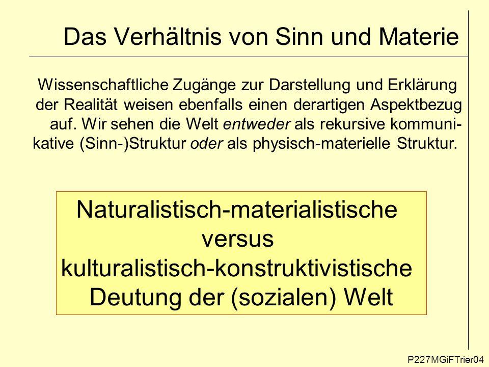 Das Verhältnis von Sinn und Materie P227MGiFTrier04 Naturalistisch-materialistische versus kulturalistisch-konstruktivistische Deutung der (sozialen)