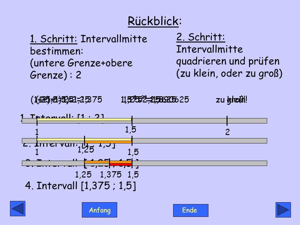 Anfang Ende Rückblick: 1. Intervall: [1 ; 2] 2. Intervall: [1 ; 1,5] 3. Intervall: [ 1,25 ; 1,5 ] 1,25 12 1,5 1,375 11,51,251,5 4. Intervall [1,375 ;