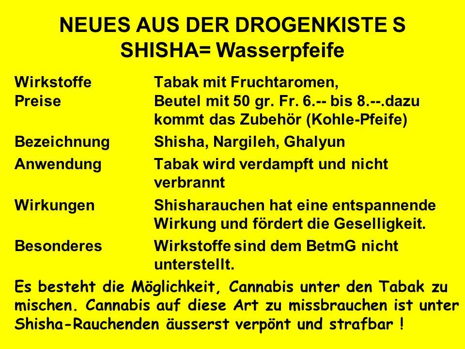 NEUES AUS DER DROGENKISTE S SHISHA= Wasserpfeife WirkstoffeTabak mit Fruchtaromen, PreiseBeutel mit 50 gr. Fr. 6.-- bis 8.--.dazu kommt das Zubehör (K